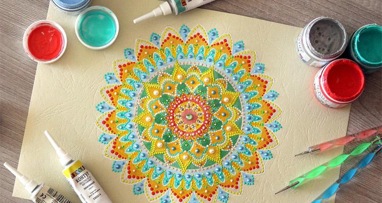 рисунок мандалы красками